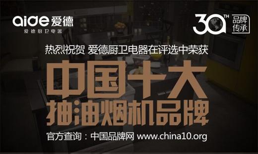 热烈祝贺:爱德厨卫荣获《中国十大抽油烟机品牌》