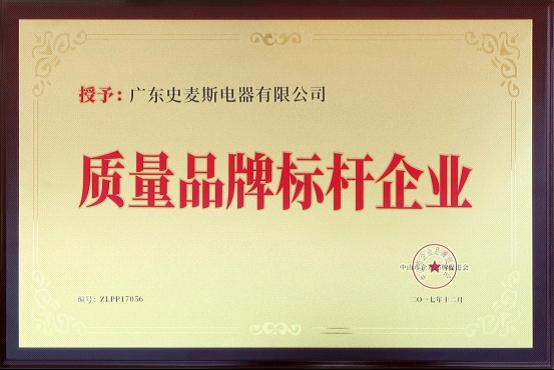 """史麦斯电器荣获""""质量品牌示范企业""""荣誉称号"""